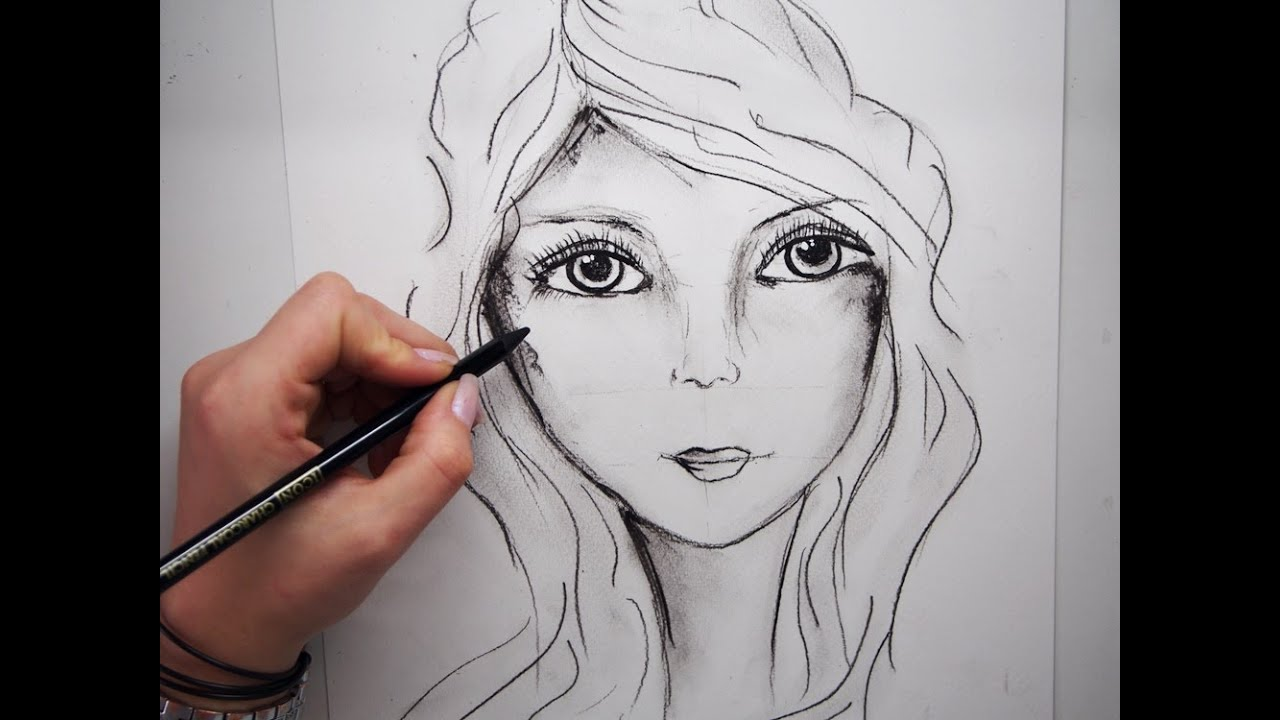 Line Drawing Of Female Face : How to draw a female face step by youtube