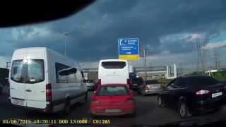 Киевское шоссе, дорожные войны, пробка, проучил двух баранов, которые его не пускали