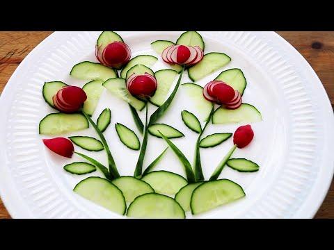 Handmade Vegetable Flower Carving Garnish   Food Decoration   Party Garnishing