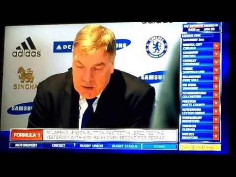 Sam Allardyce's press conference after Chelsea v West Ham 0-0 on 29.01.14