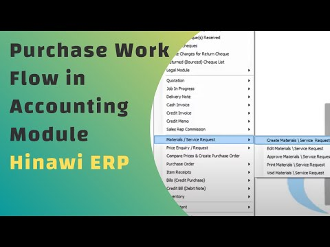Purchase Work Flow in Accounting Module in Hinawi Software - English