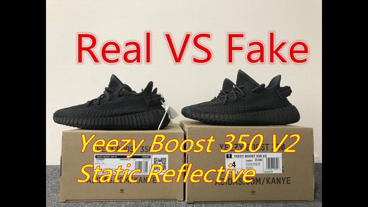 d565296f1c1 Real VS Fake Yeezy Boost 350 V2 Black Static non reflective comparison  review