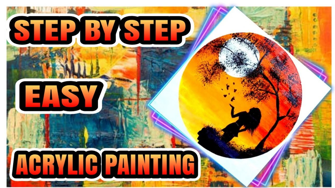 Easy Tutorial Acrylic Painting for Beginner   Girl with ...