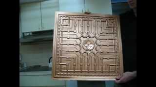 Plastic Faux Ceiling Tile Copper DIY Painted PVC easy to Install on the Grid