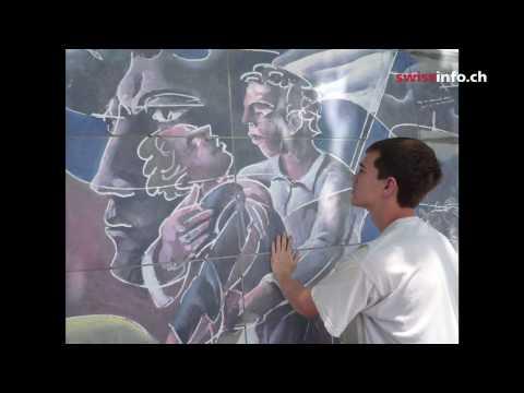 Swiss artist Hans Erni's peace wall in Geneva