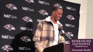 Ravens cornerback Marcus Peters discusses interception in team debut