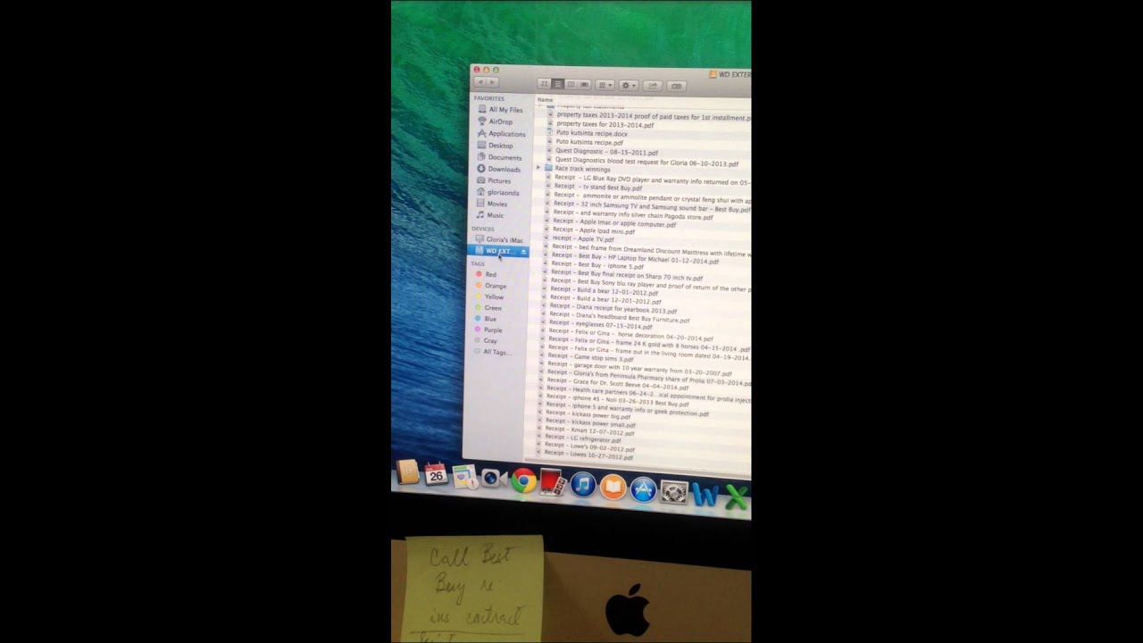 How to find files in external drive in Imac