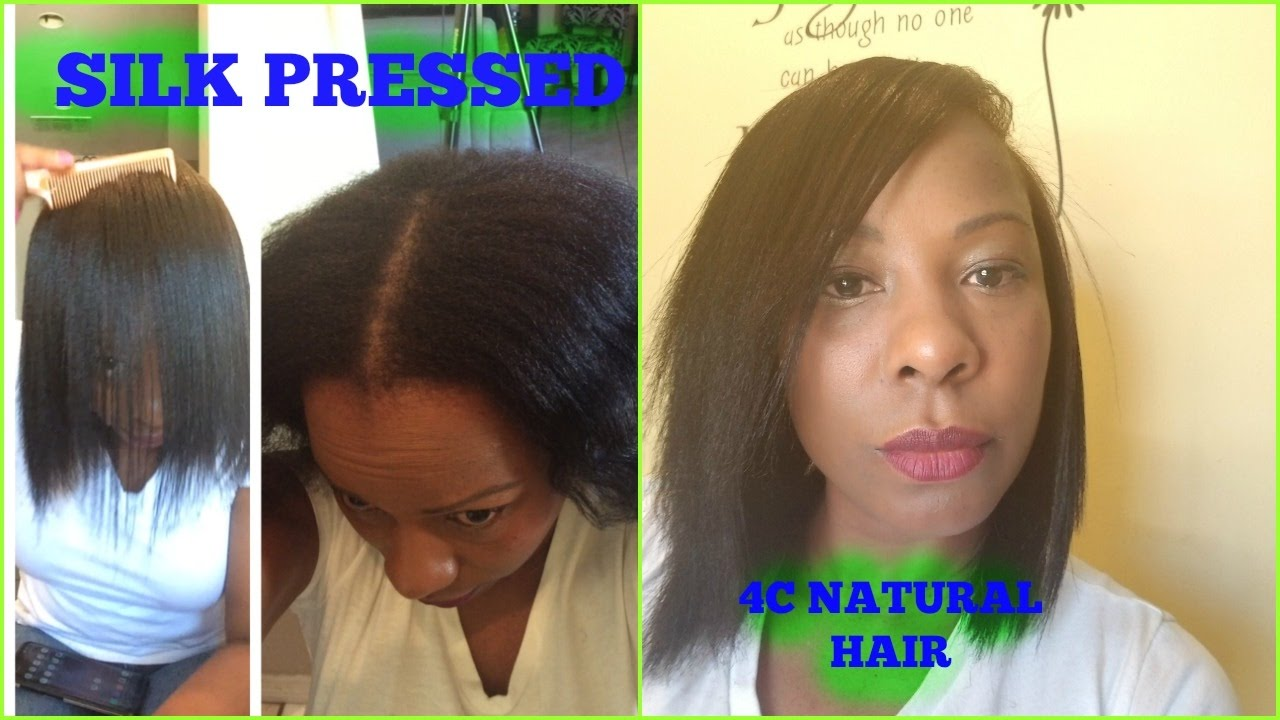 how to: silk pressed 4c natural hair, trim & saran wrap - tutorial