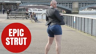 Viral bum-wiggling sensation Epic Strut Guy shakes booty in Britain for first time