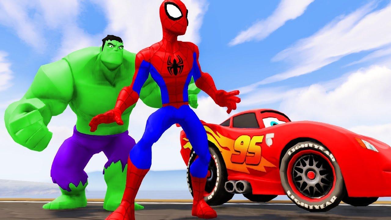 Видео для детей Халк и Человек Паук Халк на мотоцикле ...