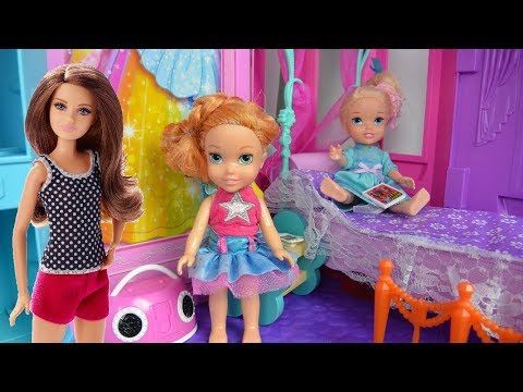 Barbie Skipper Babysitting Anna and Elsa's Children! Toddler Videos Puppy Sleep-Over Toys In Action