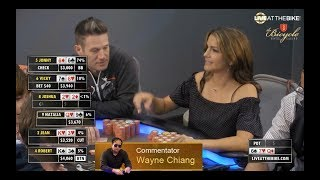 WILD $40/$80 Limit Holdem Hand on Live at the Bike feat. Wayne Chiang, Jean Gluck, Natalia Cigliuti