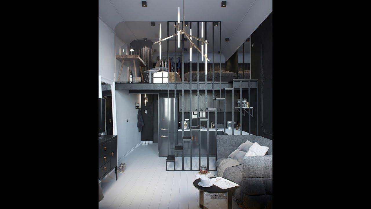20 Small Home Bar Ideas And Space Savvy Designs: Двухъярусная Маленькая Квартира Студия 24 кв.м. (фото
