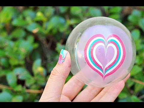 How to Water Marble a Christmas Ornament Heart Design Using Nail