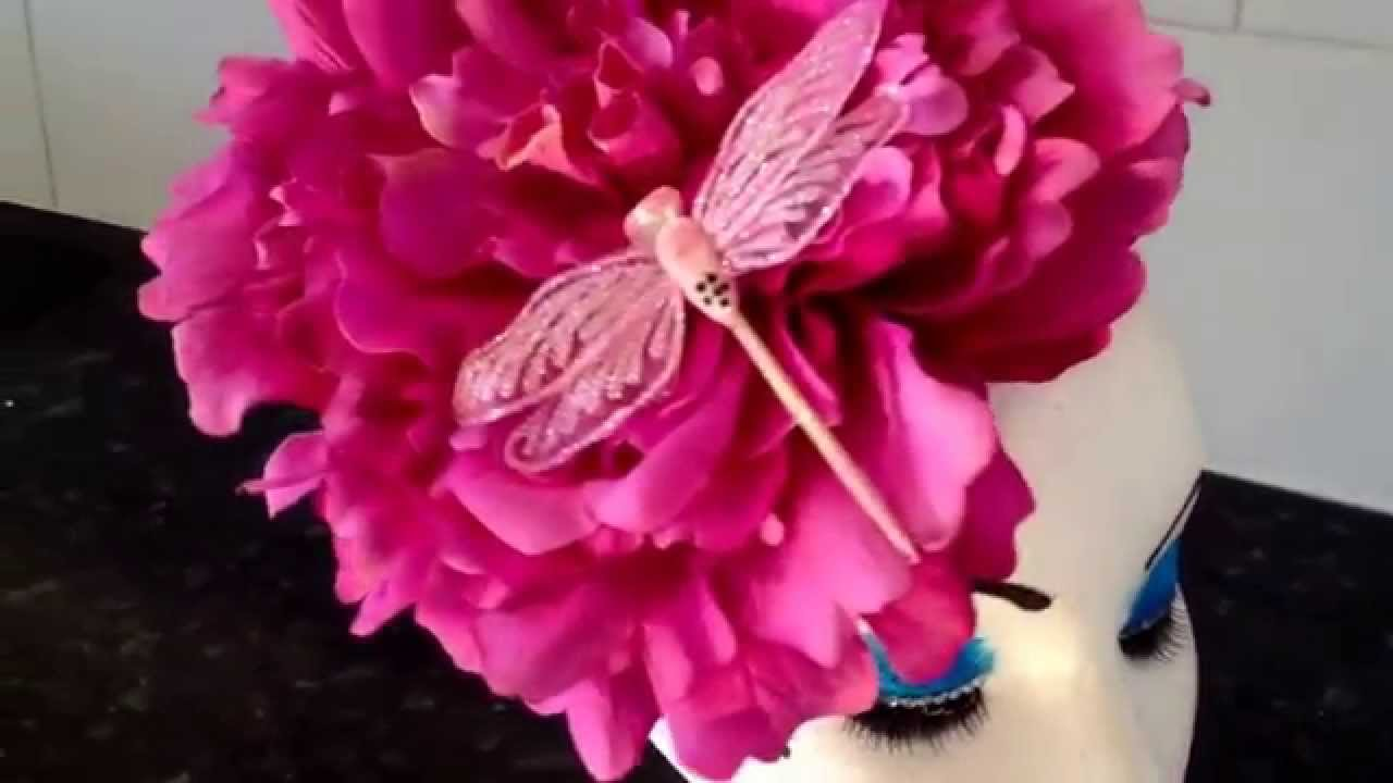 Fascinator with large pink flower and dragonfly youtube fascinator with large pink flower and dragonfly mightylinksfo