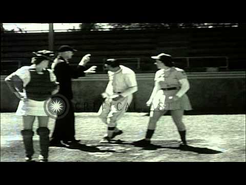 An All American Girls League baseball game in Kenosha, Wisconsin. HD Stock Footage