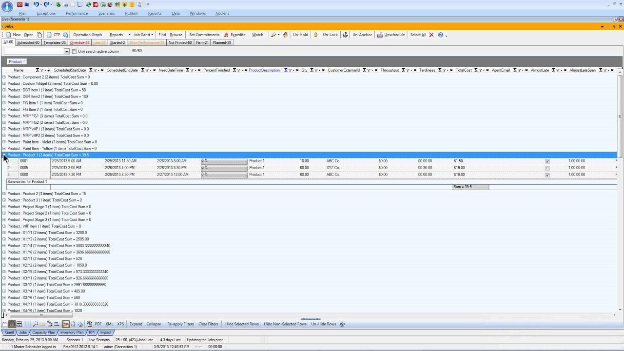 Business Intelligence tools with manufacturing scheduling and planning