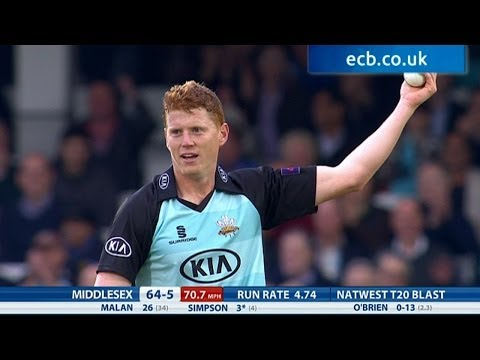 Kevin O'Brien stunning catch - Surrey v Middlesex Panthers - highlights