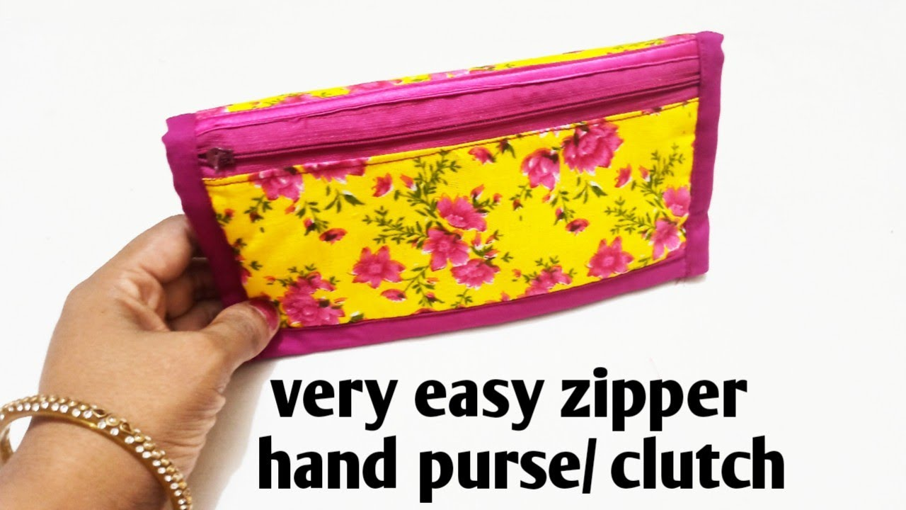 5 मिनट में बनाये 3 पौकेट वाला पर्स/zipper hand purse/clutch/ mobile phone purse/zipper handbag