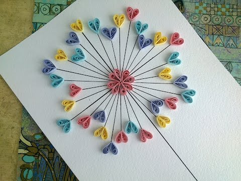 Quilling Paper Tutorial - DIY Paper Quilling Love Card. Quilling Wall decor.