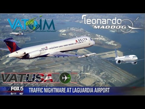 (FSX) Leonardo Maddog. Nearly BASHED by United Airlines 737 with SURPRISE LAHSO