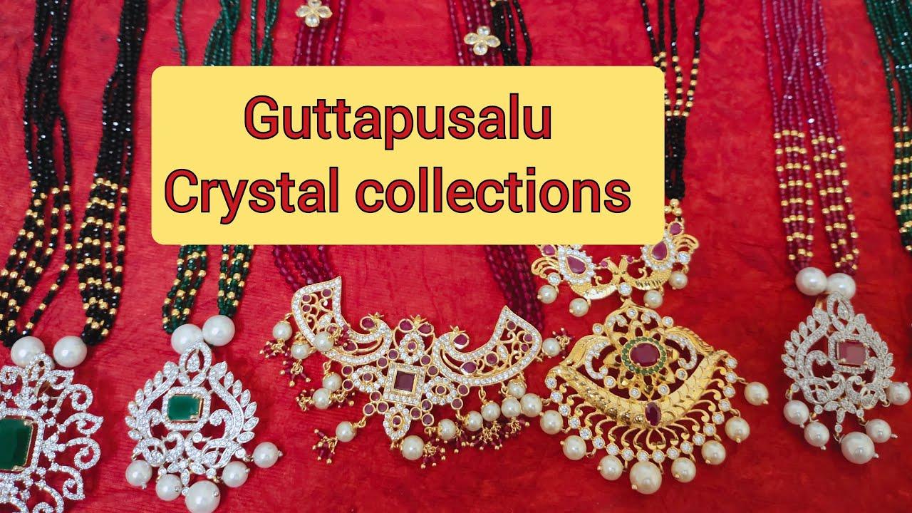 Beautiful Guttapusalu Crystal Necklace Black Beeds Priyanka Kollections 70135 73487