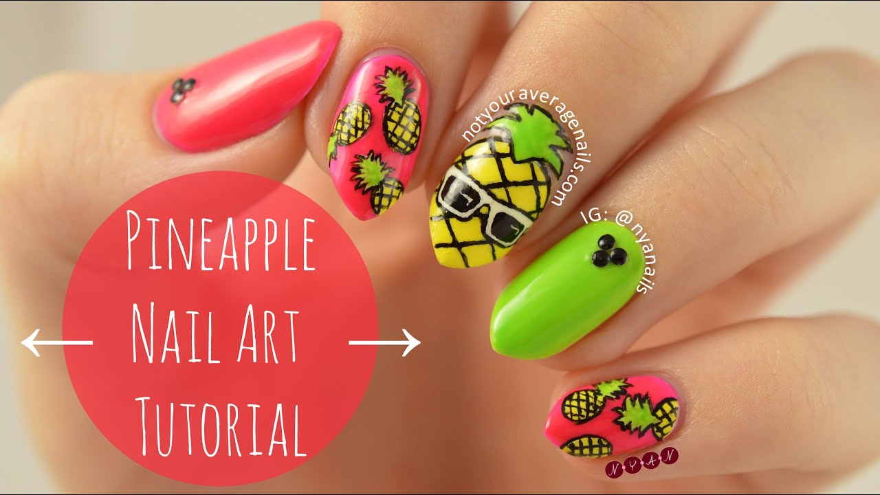 Pineapple Nail Art Tutorial - YouTube