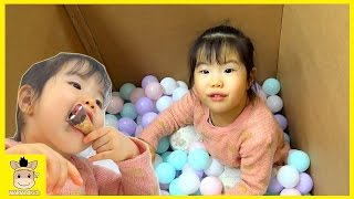 Kids Indoor Playground Rainbow Colors Ball pool Fun Play Chocolate eating show | MariAndKids Toys