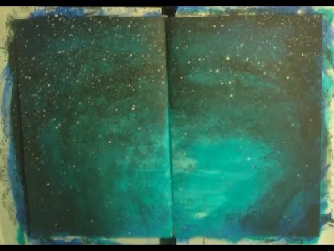 Acrylic painting background starry sky youtube for Acrylic background techniques