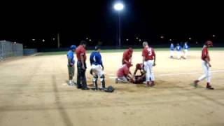 kid gets hit in the face by a baseball