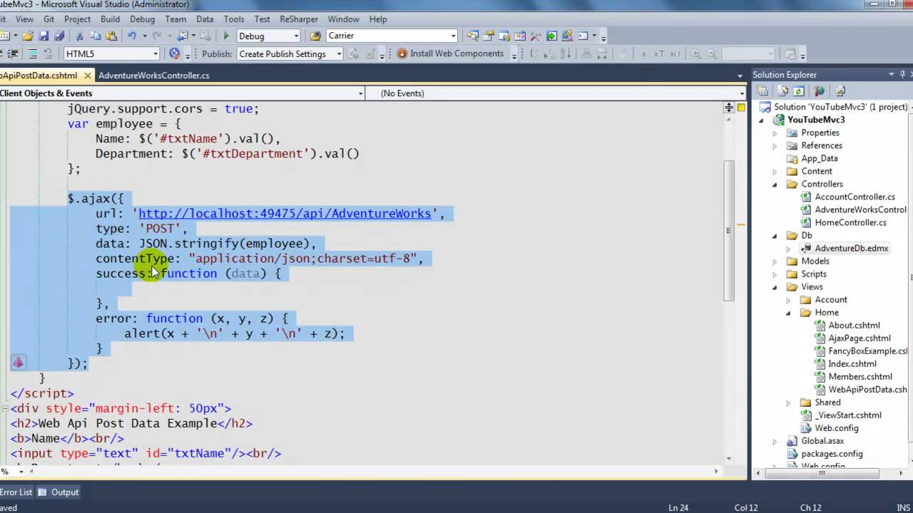 How to Post Data from a view to your web api controller