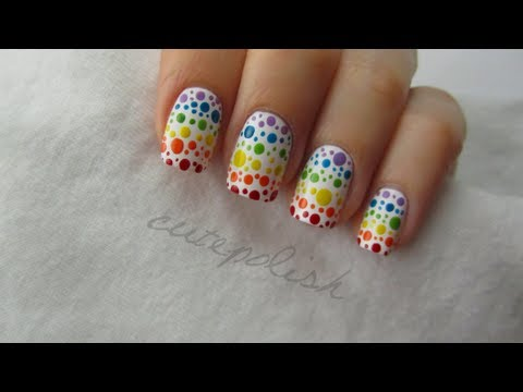 rainbow spotted nail art