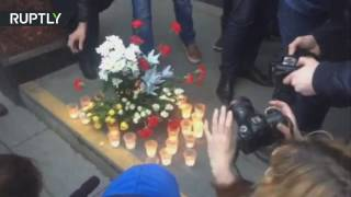 Flowers & candles in St Petersburg following deadly blast