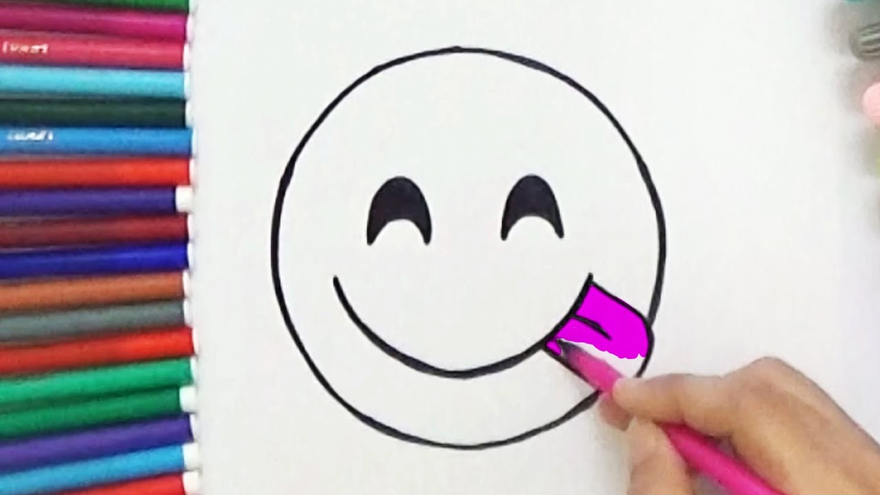 How To Draw Face Savouring Delicious Food Emoji Cute And Easy