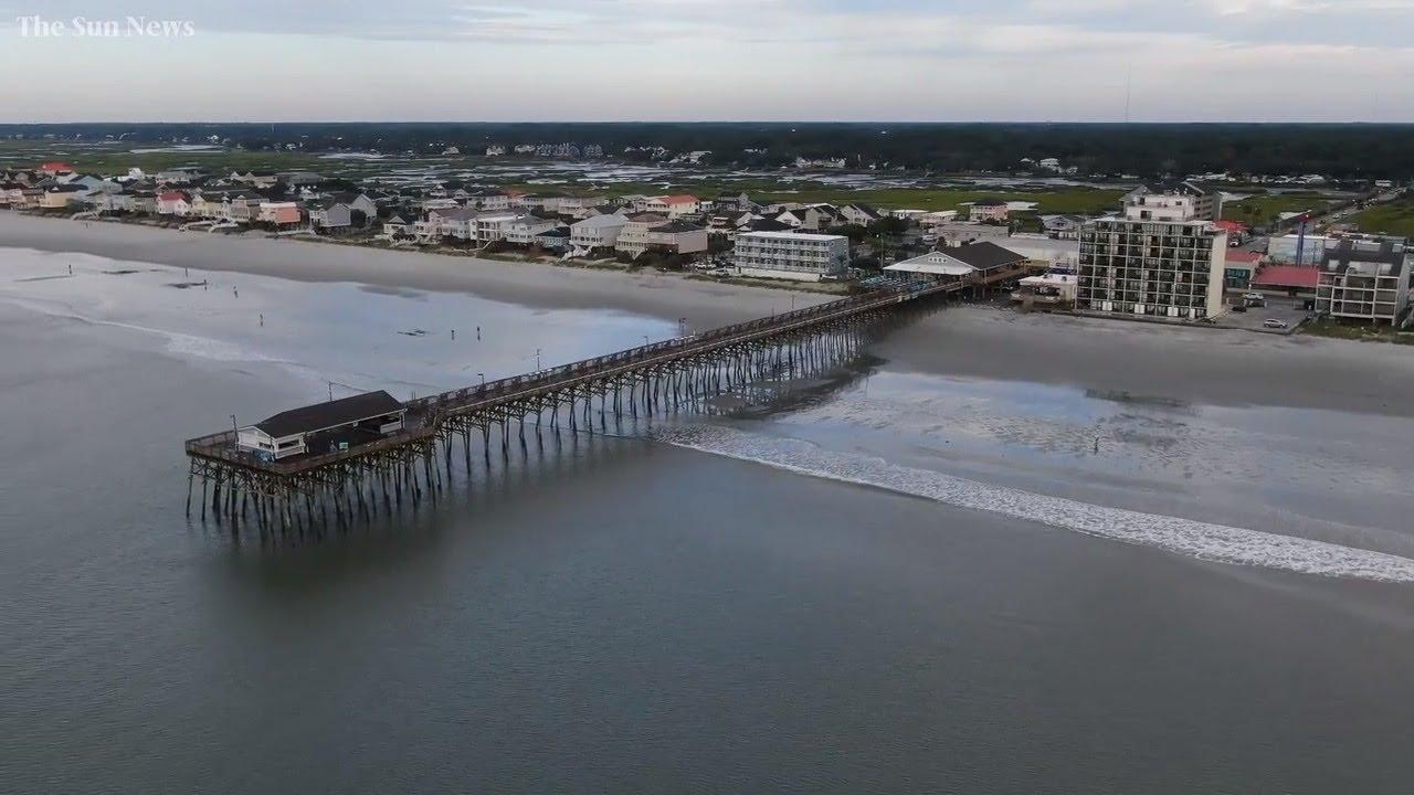 Drone video shows Garden City Beach SC escaped damage from Hurricane Dorian