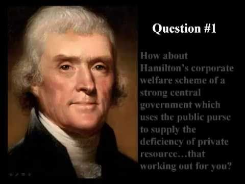 hamilton v jefferson Jefferson versus hamilton thomas jefferson and alexander hamilton had very different views about how the new united states government should operate in relation.