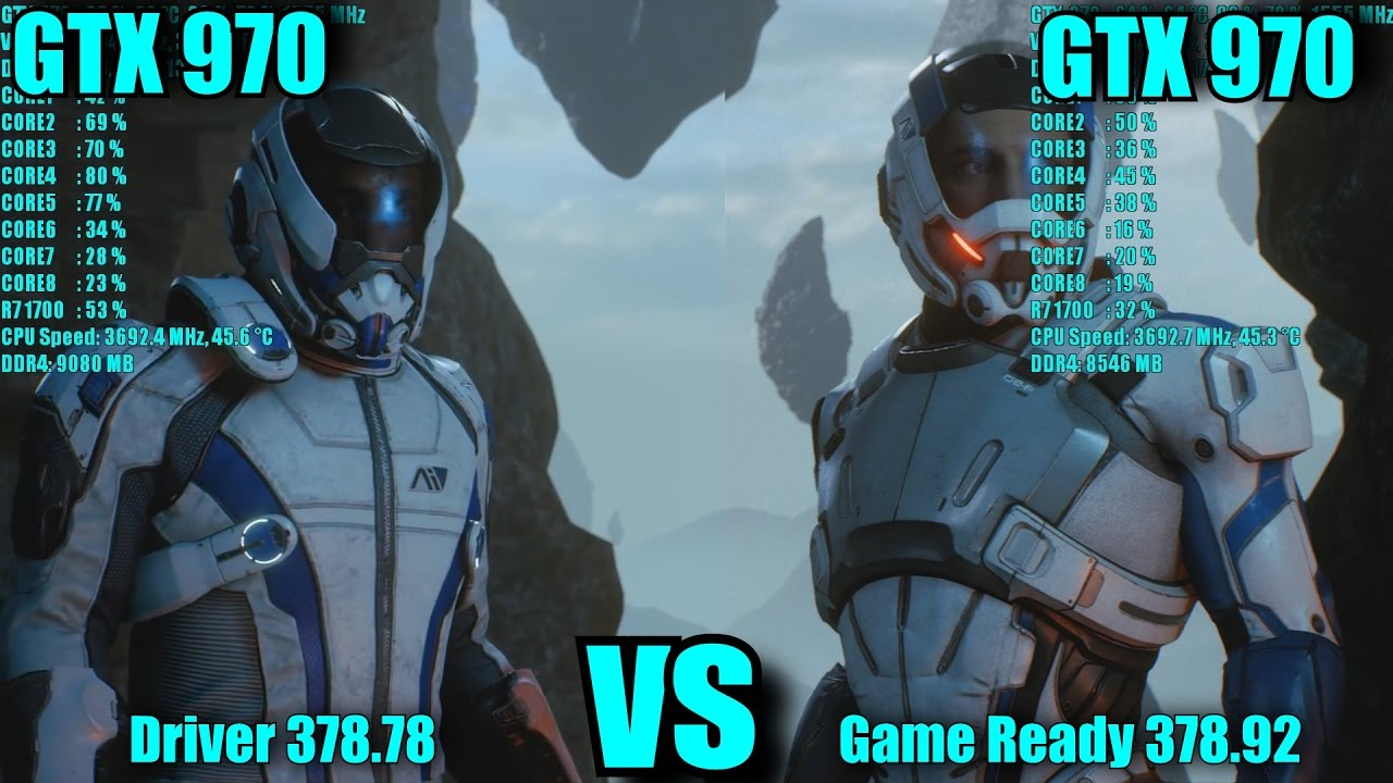 Mass Effect Andromeda GTX 970 OC Driver 378 78 vs Game Ready 378 92  FRAME-RATE TEST COMPARISON