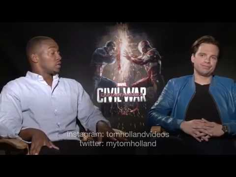 Anthony Mackie and Sebastian Stan roasting Tom Holland