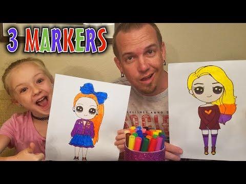 3 Marker Challenge JoJo Siwa vs Wengie!!! YouTubers Edition #4