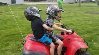 LEARNING TO RIDE A FOUR WHEELER ATV!