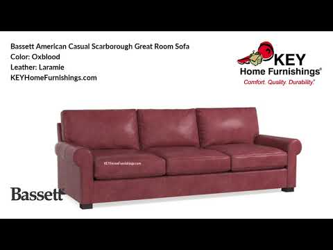 Bassett American Casual Scarborough Great Room Leather Sofa | Living Room Furniture Video | 2018