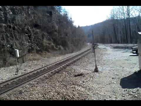 Freight train entering tunnel at Nemo below Wartburg, TN