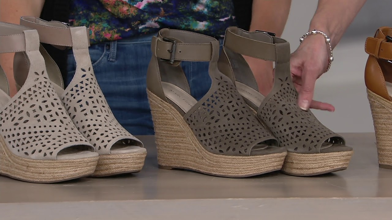 1960f0b8cd0 Marc Fisher Perforated Suede Wedges -Hasina on QVC - YouTube