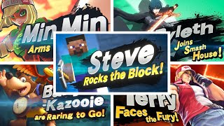 Super Smash Bros Ultimate - All Newcomers Trailers Including Steve (Minecraft)