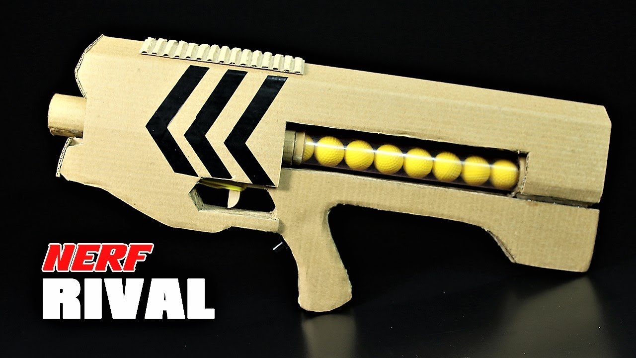 How To Make Nerf Rival Zeus Gun That SH00TS From Cardboard