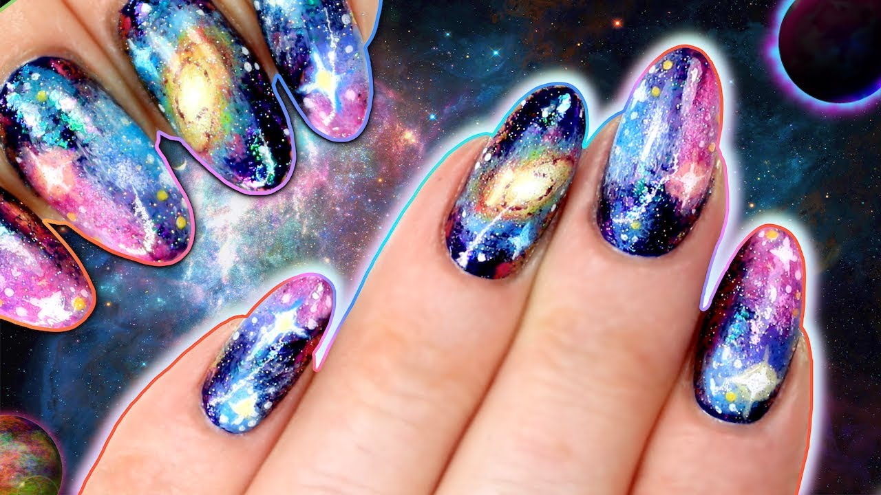 galaxy nails with holo glitter