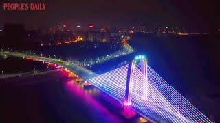 Zhenyuling Bridge, which started its service in 2015, still shines as a landmark tourist site.
