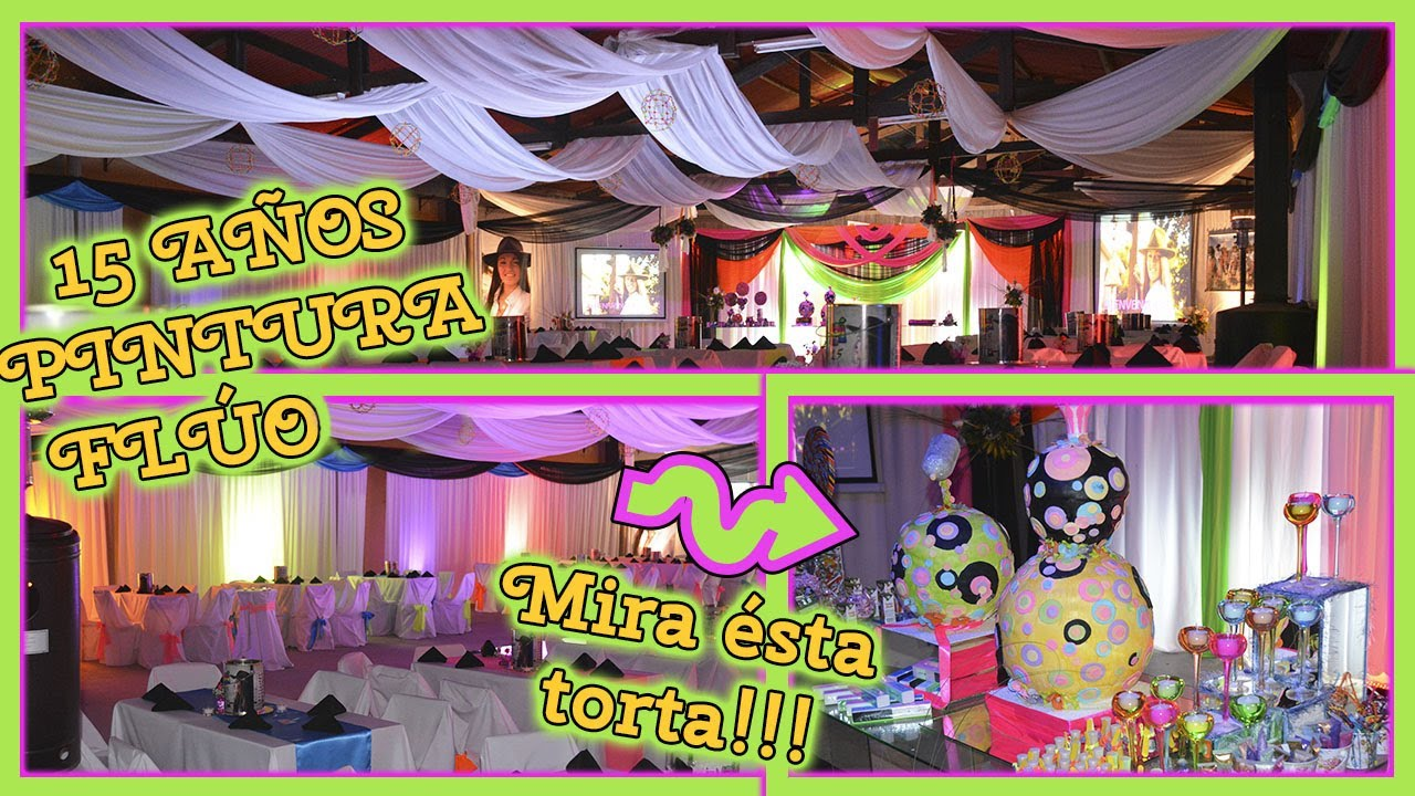 Fiesta de 15 a os colores fl or con telas luces y flores - Decoracion con luces ...