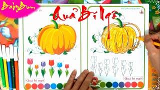 Hướng dẫn tô màu Quả Bí Ngô - Instructions for coloring Pumpkin - Nhạc thiếu nhi vui nhộn