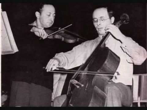 Heifetz and Feuermann play Brahms' Double Concerto - Movement 1: Allegro (1/2)